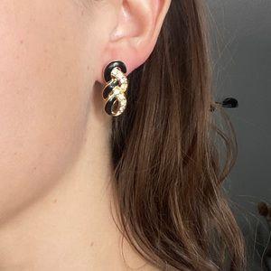 Vintage TRIFARI rhinestone infinity earrings